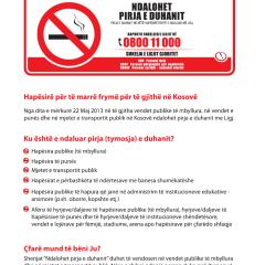 UA – Mjediset Pa Tym Duhani dhe Vendosja e Shenjave për Ndalimin e Pirjes së Duhanit në Hapësira të mbyllura